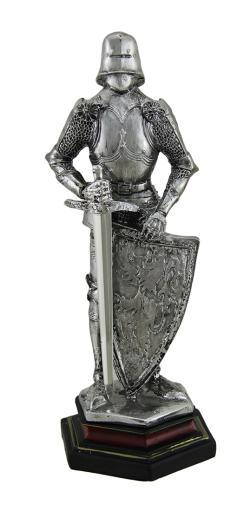 Medieval Knight in Armor Standing Holding Sword and Shield Statue 9 Inch
