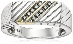 Men's Sterling Silver and Diamond Gent's Ring (1/10cttw, J-K Color, I3 Clarity), Size 10.5