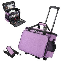 Yescom Sewing Machine Rolling Case Portable Multiple Pockets Large Compartment Travel