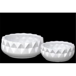Urban Trends Collection 45936 Ceramic Round Pot with Embossed Diamond Design Body & Tapered Bottom, White - Set of 2