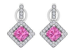 Blush Pink Sapphire CZ Square Halo Stud Earrings Silver
