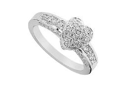 Cubic Zirconia Heart Ring 14K White Gold 1.00 CT Cubic Zirconia