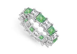 Cubic Zirconia and Created Emerald Eternity Band 14K White Gold 5.00 CT TGW Fifth Wedding Annive