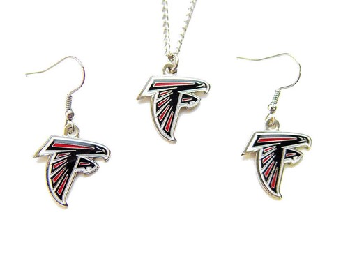NFL Atlanta Falcons Sports Team Logo Necklace and Dangle Earring Charm Set