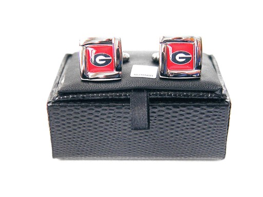 NCAA Georgia Bulldogs Square Cufflinks with Square Shape Logo Design Gift Box Set