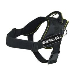DT Fun Works Harness, Working Dog, Black with Yellow Trim, Large - Fits Girth Size: 32-Inch to 42-Inch