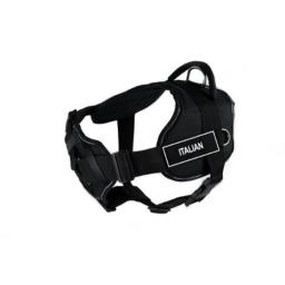 Dean & Tyler 22 to 27-Inch Italian Fun Harness with Padded Chest Piece, Small, Black with Reflective Trim