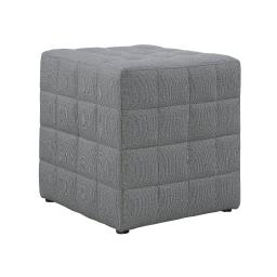 Offex Contemporary Light Grey Linen-Look Upholstered Cube Ottoman