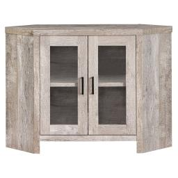 "Offex 42""L Modern Taupe Reclaimed Wood-Look Corner TV Stand with 2 Storage Shelves"