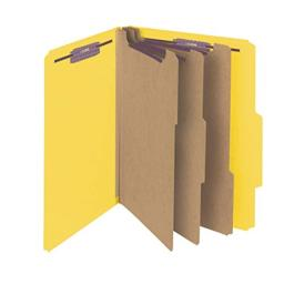 "Smead Pressboard Classification File Folder with SafeSHIELD Fasteners, 3 Dividers, 3"" Expansion, Letter Size, Yellow, 10 per Box (14098)"