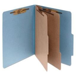 "Classification Folders, 3"" Exp, Legal, 2 Partition, Sky Blue"