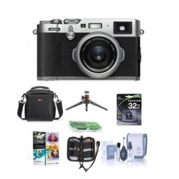 Fujifilm X100F 243MP Digital Camera Fujinon 23mm f2 Lens Silver- Bundle with 32GB SDHC Card Camera Case Table Top Tripod Cleaning Kit Memory Card Case Card Reader Software Package