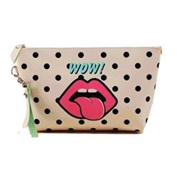 Beauty Bar Go Girl! Cosmetic Bag (Beige Polka Dot Lips)