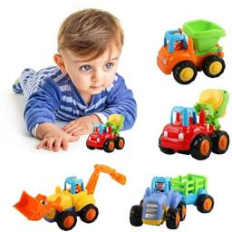 Friction Powered Cars Push and Go Construction Vehicles Toys Set of 4 Tractor,Bulldozer,Cement Mixer Truck,Dumper Push Back Cart