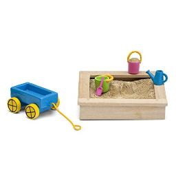 Lundby 60509600 Doll's House Sandbox and Toy Set, Blue.Pink.Green