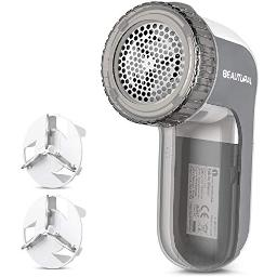 BEAUTURAL Fabric Shaver and Lint Remover, Sweater Defuzzer with 2 Speed Settings, 2 Replaceable Stainless Steel Blades, Battery Operated