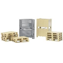Bruder Logistics Set with Pallets, Warehouse and Trailer Bins, and Forklift Crates, 14 Piece Set