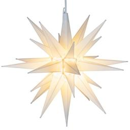 Elf Logic - 21 Large White Moravian Star - Hanging Outdoor Christmas Star Light - Use as Holiday Decoration Porch Light 3D Fixture Advent Star (21 Inch Assembly Required) (LED)