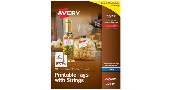 Avery Printable Tags for Inkjet Printers Only, Square Tags With Strings, 1.5  x 1.5 , 200 Tags (22849) .Create a premium look and fill the entire tag with color using the print-to-the-edge feature.Double-sided cardstock optimized to display your logo or company information in rich colors and sharp text.Avery printable tags are great for holiday hang tags, jar tags, bottle tags, favor tags, Christmas gift tags with strings, and more.Include pre-punched holes and premium-style fabric string with a quick-latch fastener for easy and secure attachment.Optimized for inkjet printers, easily customize the hang tags with free templates and designs at avery.com/templates.