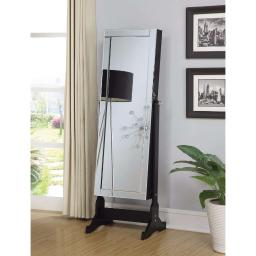Sophisticated Jewelry Cheval Mirror With Interior Storage, Black
