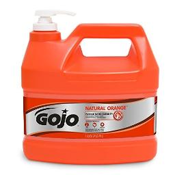 GOJO NATURAL ORANGE Pumice Industrial Hand Cleaner, 1 Gallon Quick Acting Lotion Hand Cleaner with Pumice Pump Bottle - 0955-04