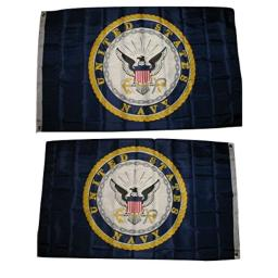 AES 3x5 Navy Emblem Crest Flag Double Sided 2ply 2-ply Spun Super Polyester Flag 3'x5' House Banner Grommets Fade Resistant Premium Quality