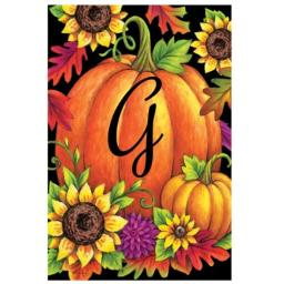 Pumpkin Sunflowers G - Garden Size, 12 Inch X 18 Inch, Decorative Double Sided Licensed and Copyrighted Flag by Custom Decor Inc. Embroidered Monogram Style