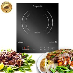 MegaChef 930110967M MC-1400 Portable 1400W Single Induction Cooktop with Digital Control Panel, Burner, Black