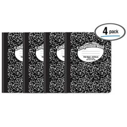 """Composition Book Notebook - Hardcover, Wide Ruled (11/32-inch), 100 Sheet, One Subject, 9.75"""" x 7.5"""", Black Cover-4 Pack"""