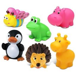 Puzzled Giraffe, Butterfly, Penguin, Hippo,Frog and Hedgehog Rubber Squirter Bath Buddy Bath Toy - Animals \ Insects Theme - 3 INCH - Item #K2724-2742-2762-2763-2772-2784