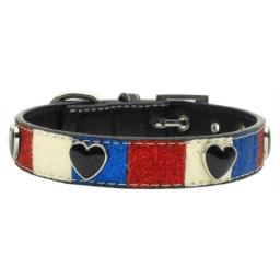 Mirage Pet Products Patriotic Ice Cream Hearts Dog Collars with 3/4-Inch Matching Leash for Dogs, Medium