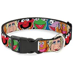 """Buckle-Down Plastic Clip Collar - Muppets Faces CLOSE-UP Black - 1"""" Wide - Fits 9-15"""" Neck - Small"""