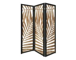 Screen Gems SG-363 Tropical Leaf Design 3 Panel Papete Screen Room Divider,Brown
