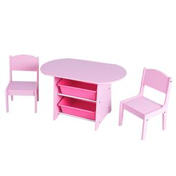 Kids Table and 2 Chairs Set with Storage Boxes