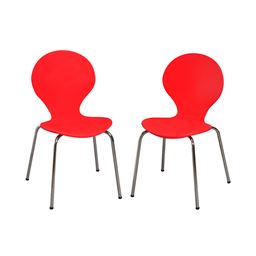 Gift Mark Modern Childrens 2 Chair Set with Chrome Legs - Red Color