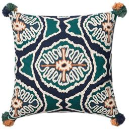 Loloi Loloi-DSETP0409BBTEPIL3-Blue Decorative Accent Pillow 100% Cotton Cover with Down Fill 22 x 22 22 x 22 Navy/Teal