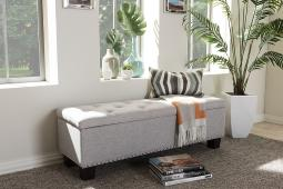 Baxton Studio Hannah Modern and Contemporary Grayish Beige Fabric Upholstered Button-Tufting Storage Ottoman Bench