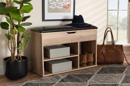 Baxton Studio Ramsay Modern and Contemporary Dark Brown Faux Leather Upholstered and Oak Brown Finished Wood Shoe Storage Bench