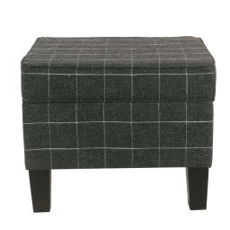 Wooden Ottoman with Grid Patterned Fabric Upholstery and Hidden Storage, Black and White