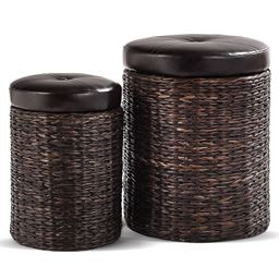 2 pcs Rattan Leather Seating Storage Stools Ottoman