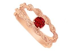 July Biirthstone Ruby Mother Ring in 14K Rose Gold