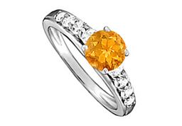 Citrine and Cubic Zirconia Ring in 14K White Gold