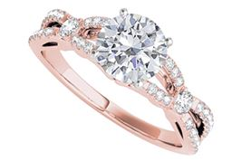 Criss Cross Design Engagement Ring with Round CZ