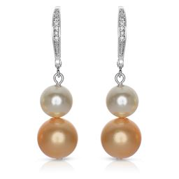 Rozzato Jewelry Sterling Silver Bronze and White Pearl Drop Earrings