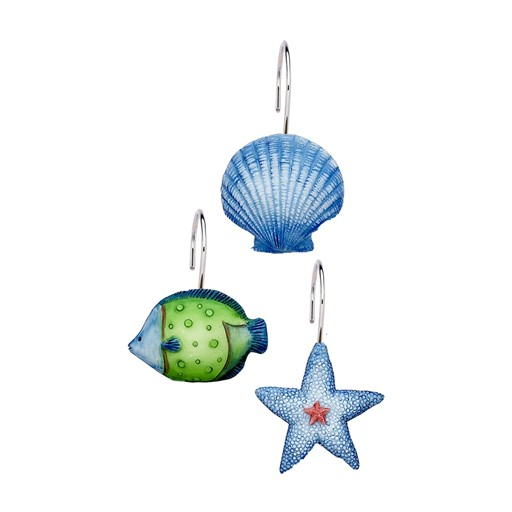 Carnation Home Fashions Oceanic Resin Shower Curtain Hooks in Blue