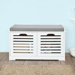 Haotian White Storage Bench with 2 Drawers & Removable Seat Cushion, Shoe Cabinet Shoe Bench, FSR23-K-W …