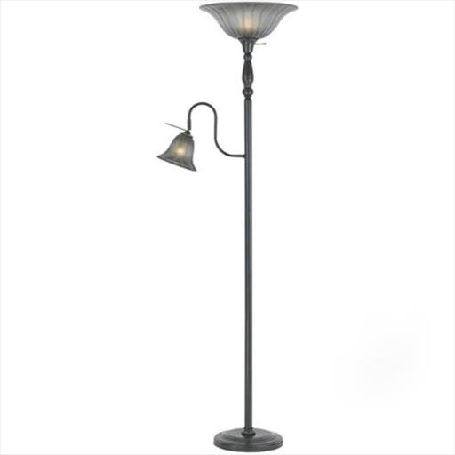 Cal Lighting BO-2052-DB 100 W Torchiere Floor Lamp With 60 W Reading Lamp, Dark Bronze Finish