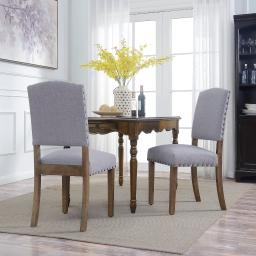 BELLEZE Set of (2) Gray Parson Chair Dining Cushion Seat Nailhead Home Kitchen Accent High Backrest Wooden Leg, Gray