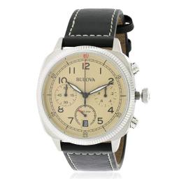 Leather Chronograph Mens Watch, Beige Dial