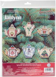 "Christmas Teapot Ornaments Counted Cross Stitch Kit-3"" 14 Count Set Of 6 21-1486"